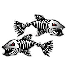 2pcs Skeleton Fish Bones Vinyl Decal Sticker Kayak Fishing Boat Car Graphics