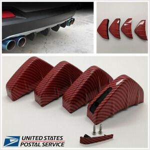 4 Pcs Carbon Fiber Look Car Rear Bumper Shark Fins Lip Diffuser Anti-Scratches