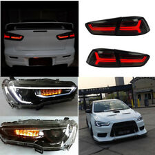 Black Led Headlight Full Smoked Taillight For Mitsibishi Lancer Evo Audi Style
