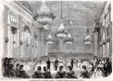 Torino Capitale: Ballo per i Deputati italiani. Risorgimento. Stampa Antica.1861