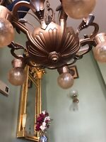 Antique Art Deco Art Nouveau 5 Bulb Ceiling Light Fixture RESTORED
