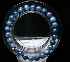 7mm Natural Blue Kyanite Crystal Cat Eye Beads Stretch Bracelet AAA