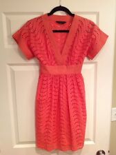 BCBG Max Azria Coral V-Neck Dress With Embroidered Eyelet Pattern Size 0