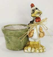 Rustic Pottery Planter Rooster with Raffia Bow