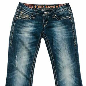 Women Rock Revival BKE Sora Boot Cut Denim Jeans Size 27 Flap Leather Rhinestone