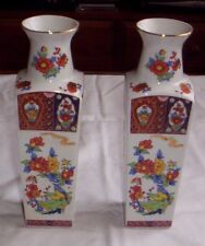 Pair of Japanese Vases With Flowers &  Birds Pattern with Gilding