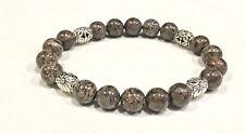 Handmade 10mm Unisex Coffee Bean Jasper Gemstone & .925 Silver Bead Bracelet