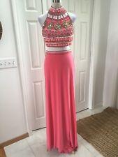 Sherri Hill Prom Dress Pink 2 Piece Beaded Stretch Knit 8