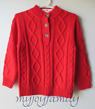 HANNA ANDERSSON Fisherman Cableknit Button Sweater Apple Red 140 10 NWT