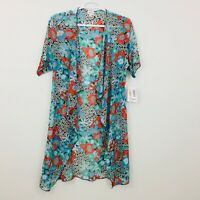 LuLaRoe Shirley Women's Top Cardigan Size S Kimono Coverup Sheer Floral Teal