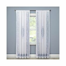 Simply Shabby Chic White Blue Embroidered Floral Eyelet Curtain Panel Drape-Pair