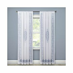 Simply Shabby Chic White Blue Embroidered Floral Eyelet Curtain Panel Drape