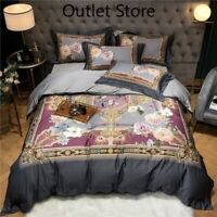 Birds Flowers Duvet Cover Zipper  Egyptian Cotton Bedding Set Cover Bedsheet