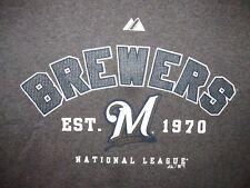Milwaukee Brewers Majestic MLB Authentic T Shirt Sz L Wisconsin Baseball NL
