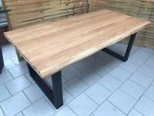 Esstisch Wildeiche Massiv Baumkantentisch 160x100cm Metallfüße U-Gestell Schwarz