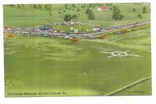 Vintage Virginia Linen Postcard Pulaski Municipal Air Port Aerial View