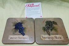 Pimpernel Set of 2 Grape Cluster Acrylic Cork Back Coasters Sauvignon Wine