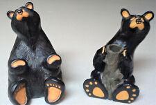 """Black 6"""" Bearfoots Humor Robust Bear & Vase/Candle Holder Figurines"""