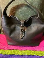 Dooney & Bourke Belvedere Brown Pebble Grain Leather Logo Lock Shoulder Bag
