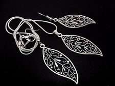A TIBETAN SILVER  LEAF THEMED NECKLACE AND EARRING SET. NEW.