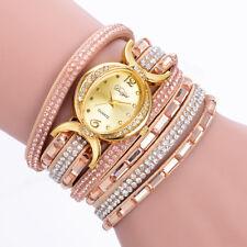 Crystal Women Watch Leather Wrap Oval Bracelet Analog Bracelet Quartz Wristwatch