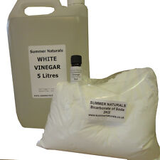 White Vinegar 5L, 2KG Bicarbonate of Soda And FREE 5ml Orange Essential Oil