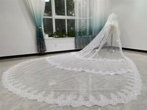 Luxury Cathedral Bridal Wedding Veils with Comb 2 T Sequins Lace 5 Metres Ivory