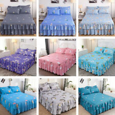 Bedding Flower Print Single Layer Bed Skirt Flat Sheet Bedspread Pillowcase New