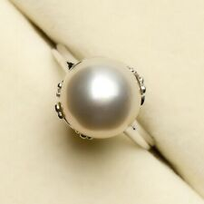 Sterling Silver Elegant 11.8mm Cream Genuine South Sea Pearl Ring 7.5# For Women