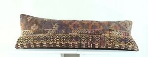 Lumbar Pillow Cover 12x36 Handknotted Kilim Rug Boho Wool Vintage Cushion A1114