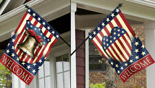 """29"""" x 43"""" LIBERTY BELL WELCOME PATRIOTIC 2 SIDED VINTAGE PRIDE LARGE BANNER FLAG"""