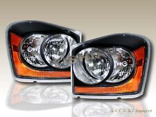 2004-2006 DODGE DURANGO BLACK AMBER HEADLIGHTS PAIR OE STYLE BULBS INCLUDED