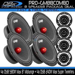 "4x DS18 PRO-GM8B 8"" Midrange Car Speaker 4x PRO-TWX1 Super Bullet Tweeter"