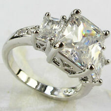 925 silver Filled White Sapphire Birthstone Engagement Wedding Ring Gift Size 8