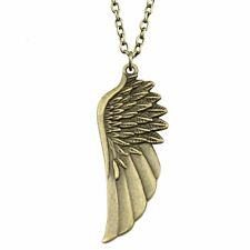 "2-1/4"" x 7/8"" ANGEL WING Pendant Charm Necklace 27"" Link Chain (#48)"