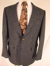 Harris Tweed Vintage Mens Blue Houndstooth 2 Btn Blazer 43R Slim USA Made