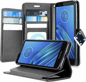 For Motorola Moto E6 - Black PU Leather Credit Card ID Wallet Pouch Case Cover