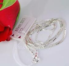 SOLID 925 STERLING SILVER BOX CHAIN NECKLACE 18 inch ( 45cm )