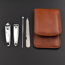 4Pcs Set Stainless Steel Nail Clipper Kit Finger Toe Nail Manicure Leather Case