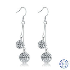925 Sterling Silver earring CZ Cubic Zirconia clear crystal DLE94