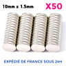 Lot x50 Aimant Neodyme Neodymium Rond Fort Puissant Super Magnet 10mm x 1.5mm