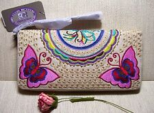 SHARIF BOHO EMBROIDERED BUTTERFLY CHECKBOOK ZIP-AROUND WALLET Natural Multi~NIB!