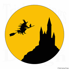 """60 Castle Cat Evil Witch Flying Moon Envelope Seals Labels Stickers 1.2"""" Round."""