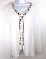 NEW Women's White Peasant Blouse Top One Size Fits All