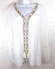NEW Women's White Bohemian Peasant Top One Size Fits All