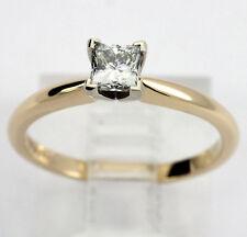 Anillo de compromiso diamante solitario 14K oro amarillo princesa brillante