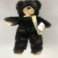 "Applause Plush Bear VTG 1986 Dark Brown Original Tags 17"" Stuffed Teddy Ribbon"