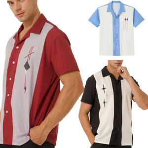 Mens Summer Loose Shirts Short Sleeve Camp Button-Down Vintage Shirt Blouse Tops