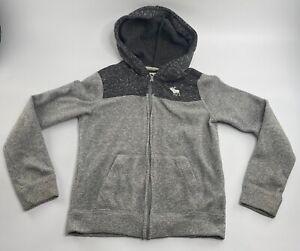 EUC Abercrombie Kids Boys Long Sleeve Gray Zip Up Sweatshirt Hoodie, Size 9/10