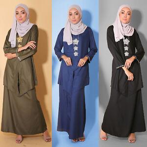 New Fashion Modest Women Muslimah Long sleeve Kebaya Diamond Plus Size Dress